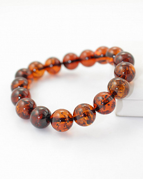 Bracelet From Natural Baltic Amber Rich Cognac Color