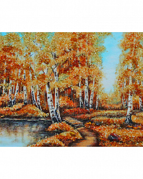 Artistic Painting With Natural Baltic Amber
