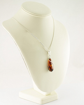 Original Large Pendant Made Of Natural Baltic Amber Of Cognac Color Silver