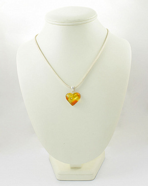Pendant In The Shape Of A Heart Made Of Natural Baltic Amber
