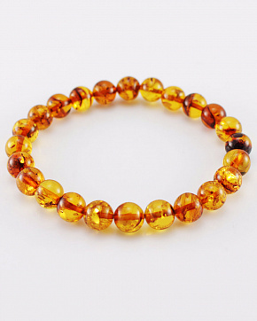 A Sparkling Bracelet Made Of Natural Baltic Amber In The Shape Of A Ball