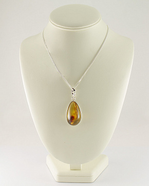 Fascinating Large Silver Pendant With Natural Baltic Amber