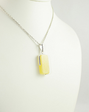 Stunning Silver Rectangular Pendant In 925° With The Insertion Of Natural Baltic Amber