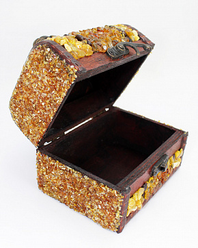 Bright Box Is Wooden With Amber